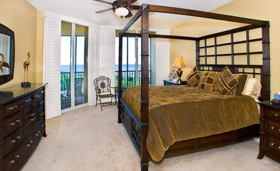 Master Bedroom with flat-screen TV, DVD player, Lanai access, super water views.