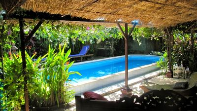 7x5mtr pool with canopy of exotic flowers  next to outdoor living  room
