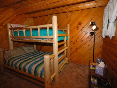 Cheboygan house rental - Kids will love the Log Bunkbed with Twin over Full bed!