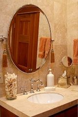 McMinnville apartment photo - Bathroom with Travertine tile, egyptian cotton towels, large walk-in shower