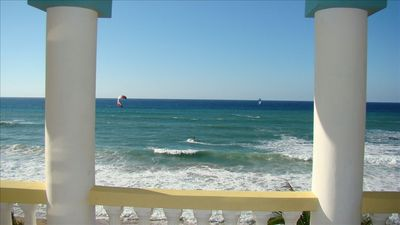 Watching surf kiters from balcony. Your private show from the comforts of home.