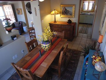 Santa Fe house rental - Dining Room to Living Room and Kitchen.