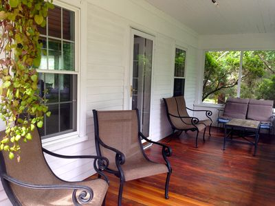 Front porch.  We just finished resurfacing and staining the porch this Spring.