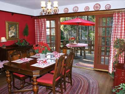 Cheery Dining room with French Doors to deck.