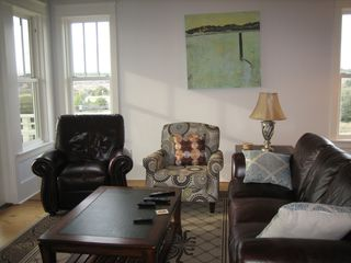 "Inlet Beach townhome photo - 3rd floor living room with 50"" TV and west balcony"
