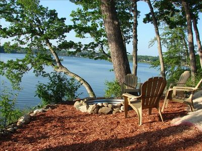 Lakeside fire pit: Imagine roasting marshmallows and s'mores w/ the grandkids!