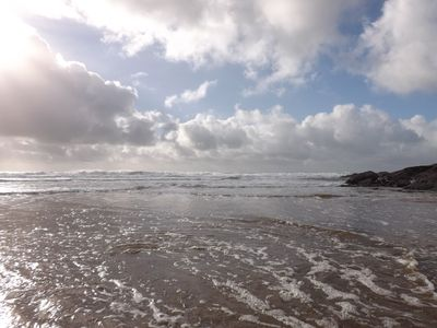 A nearby beach walk at Gunwalloe on a dramatic day