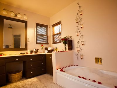 Master Suite has a large, private bathroom with a tub and seperate shower.