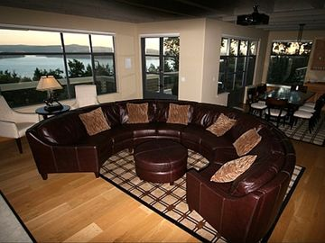 Deer Harbor estate rental - Great Room and Dining area show the expansive views of the sound
