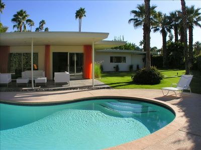 Palm Springs house rental - Private Pool and Yard with many Palm Trees located throughout the grounds!