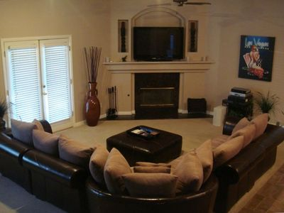 "Designer Furniture, Granite Fireplace, 52"" 1080p HDTV w/ Bose Ceiling Surround"