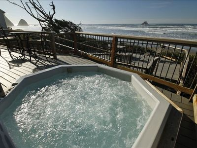Hot Tub with Castle Rock in view.