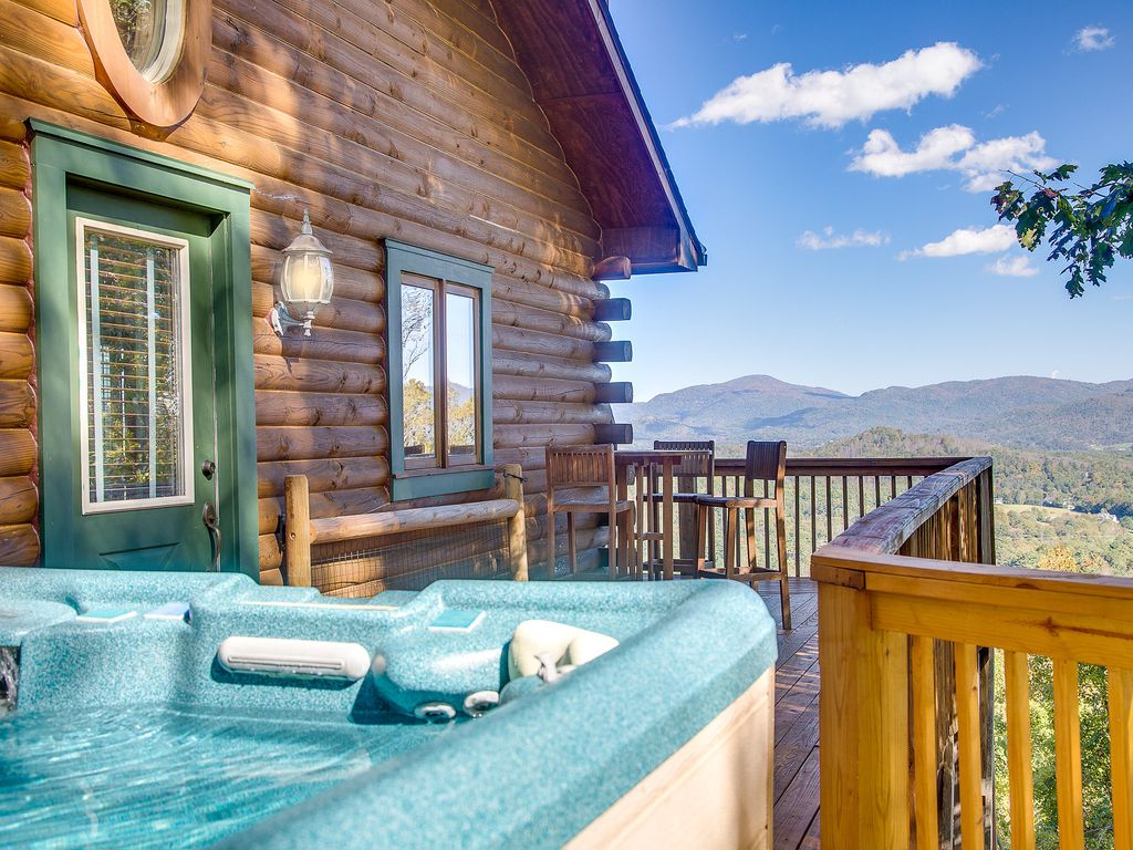 Mountaintop Log Cabin W Panoramic View Less Vrbo