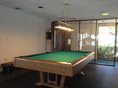 billiard table in clubhouse