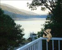 Enjoying the great views of Bass Lake from this vacation home in Yosemite area