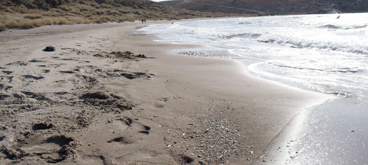 Strand van Petra, Lesvos, Noord-Egeïsche Eilanden, Griekenland