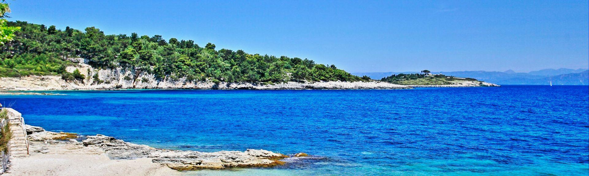 Plage d'Avlaki, Paxos, Région des îles Ioniennes, Grèce