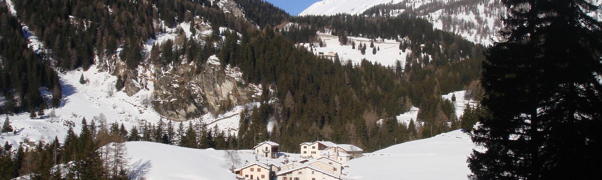 Campocologno Station, Brusio, Graubuenden, Lombardy, Switzerland