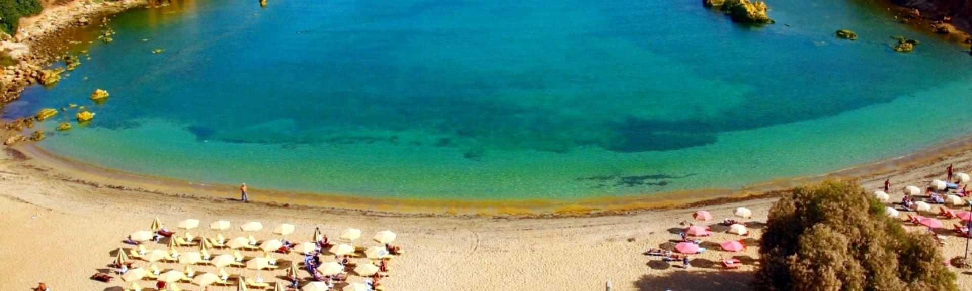 Agia Marina strand, Nea Kydonia, Kreta, Hellas