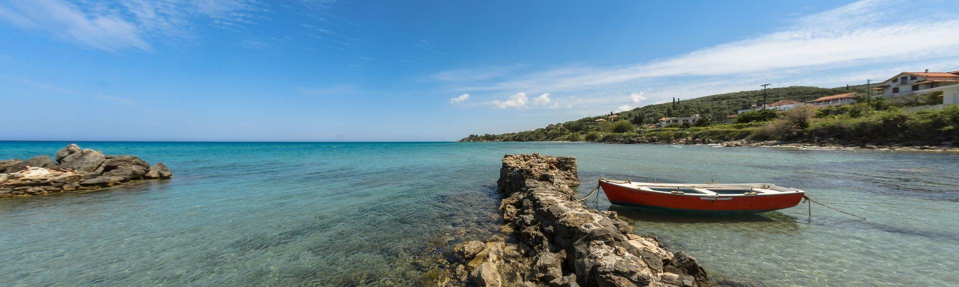 Strand van Arkoudi, Pineios, West-Griekenland, Griekenland