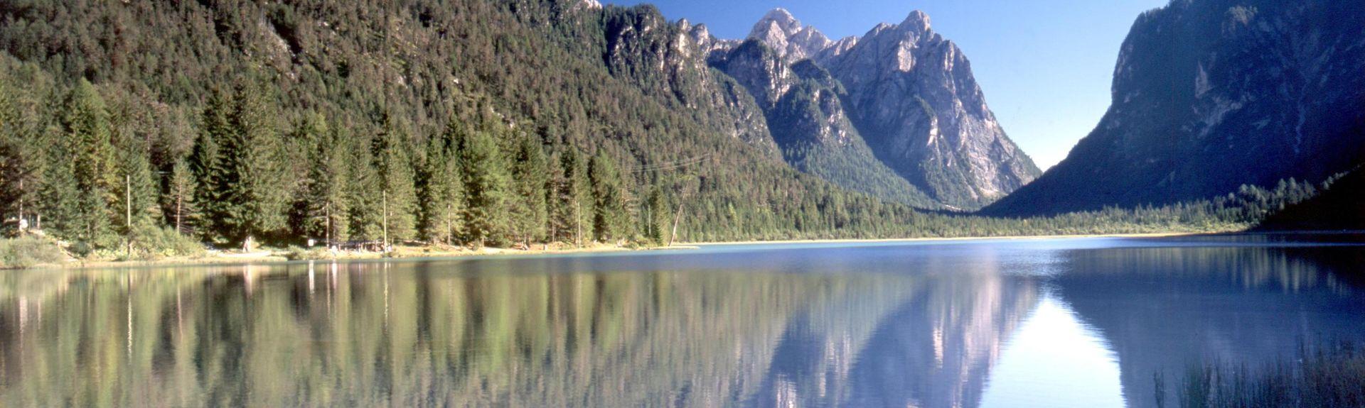 Lago di Braies, Prags, Trentino-Zuid-Tirol, Italië