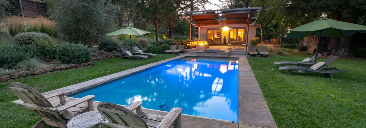 A spacious HomeAway holiday rental with a pool