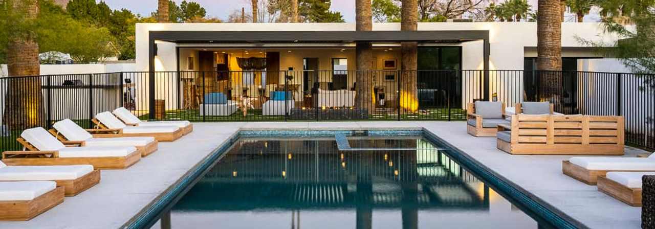 A spacious Vrbo vacation rental with a pool