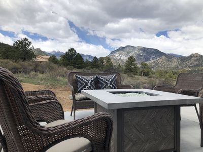 View from fire pit looking towards Rocky Mountain National Park just minutes away.