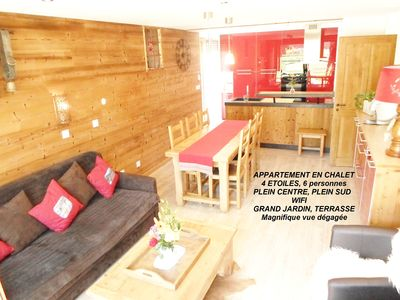 Photo for HEART OF VALLOIRE NEW APARTMENT 4 STARS, FULL SOUTH CHALET WITH GARDEN, WIFI