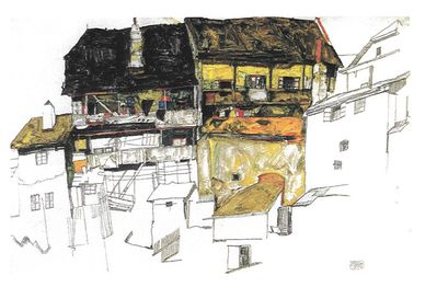 Painting of house by Egon Schiele