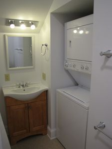 The bathroom and laundry room.
