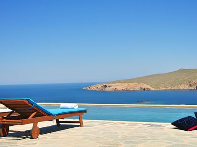 Photo for Villa Tychi, privileged position in Agios Sostis beach, sea view and pool