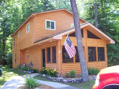 Photo for Beautiful Log Cabin on Burt Lake