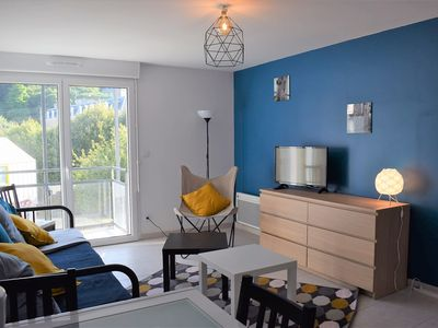 Photo for Beautiful new 2/4 pers apartment 100m from the beach in PERROS-GUIREC