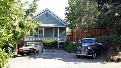 Front view of house from across Prospet Avenue. Guests park foot of frontstep