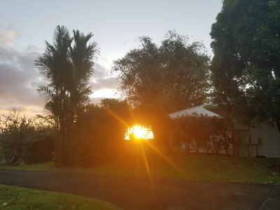 Sunrise captured in the Garden Home vine covered arch!