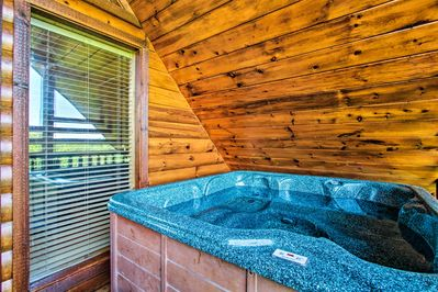 End each day in the comfort of the private hot tub.