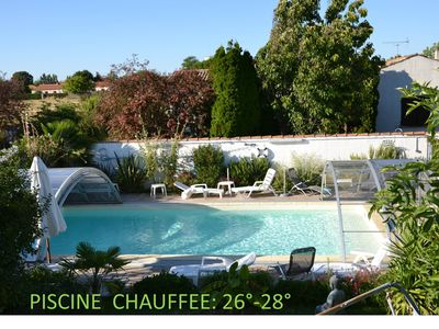Photo for STUDIO 26M2 -Terrace - HEATED POOL - BEACH -5 min 4 min The ROCHELLE
