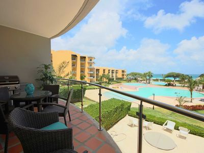 Photo for OCEANIA RESORT - Summer View Two-bedroom condo - A244  - BEACHFRONT - EAGLE BEACH