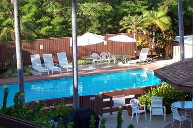 Enjoy the swimming pool after a day in Hawaii's sun.