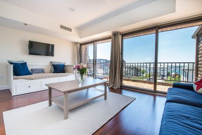Stunning views from living room/ 3rd bedroom with daybed with king size mattress
