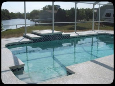 Brand new heated pool with built-in fountain; adjoins to outdoor patio area