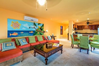 Colorful furniture and artwork dominates the common areas