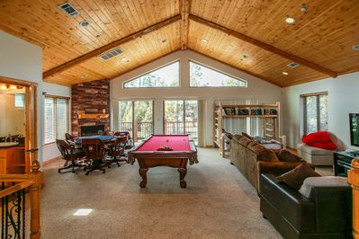 Game Room  - Gameroom is entire second floor with Pool Table, Poker Table, Private Bath, Twin over Full Log Bunk Bed, Queen Sofa Sleeper and Wood Burning Fireplace