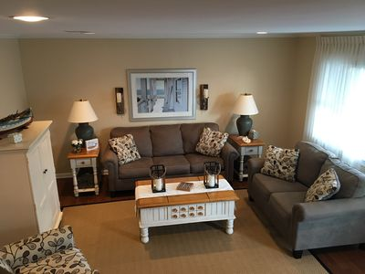 Living room with queen sofa bed.