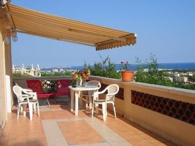 Photo for T2 with large terrace, sea view from Cannes to Estérel, quiet, south facing