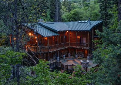 The Log Cabin at Twilight