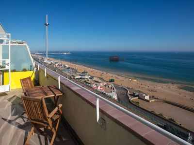 Photo for Brighton Seafront Holiday Apartment, Penthouse with Private Sun Terrace