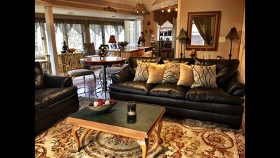 Sit in the living room next to fire place perfect place for kids and adults