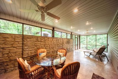 Enjoy family dinners on the covered porch.
